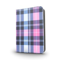 "Etui universelle 7-8"" Plaid Noir/rose"