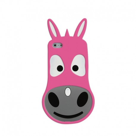 Coque Silicone 3D Donkey Iphone 5/5s Rose